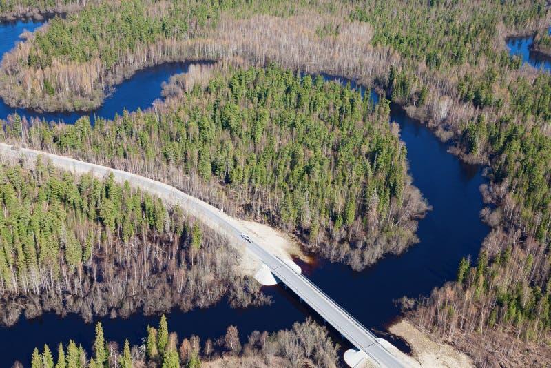 Vista superior a ponte através do rio pequeno da floresta imagem de stock