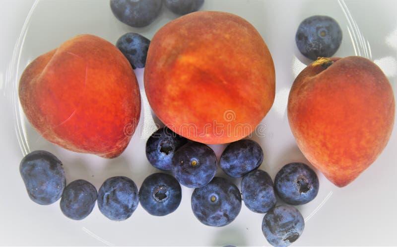Vista superior a tres pequeños y melocotones sanos de la Florida y arándanos cargados antioxidantes imagenes de archivo