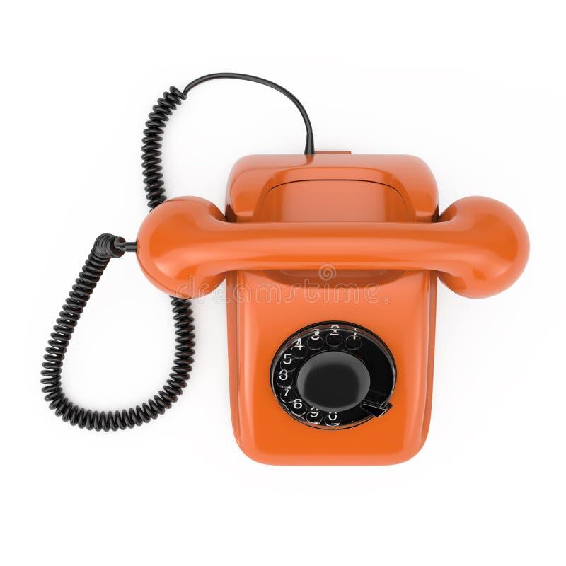 Vista superior vintage alaranjado do telefone giratório denominado rendição 3d ilustração do vetor