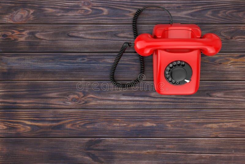 Vista superior vintage vermelho do telefone giratório denominado em uma tabela de madeira rendição 3d imagens de stock