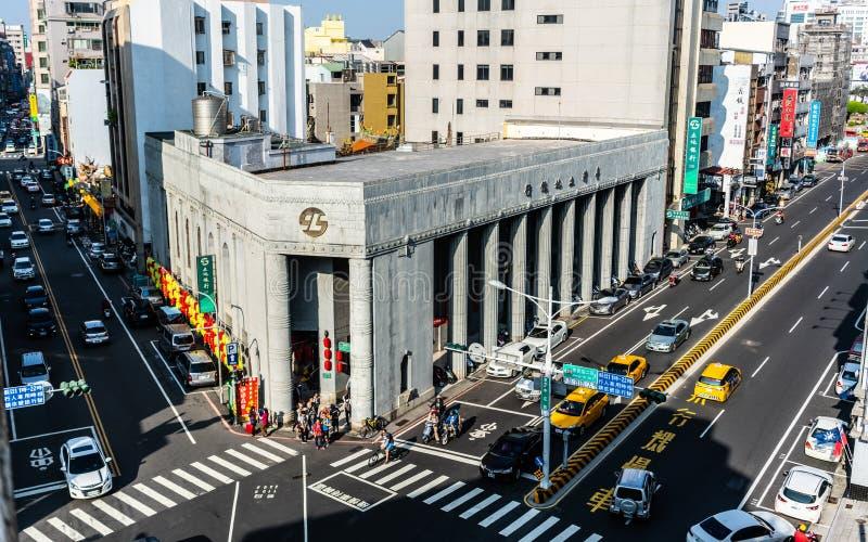 Vista superiore aerea del buildin neoclassico 1928 di stile della banca fondiaria immagine stock libera da diritti