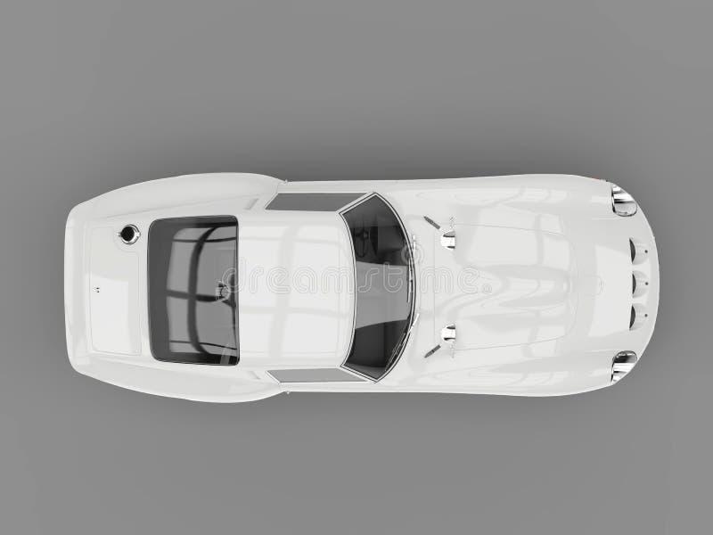 Vista superiore automobilistica di sport d'annata freschi bianchi bassi illustrazione vettoriale