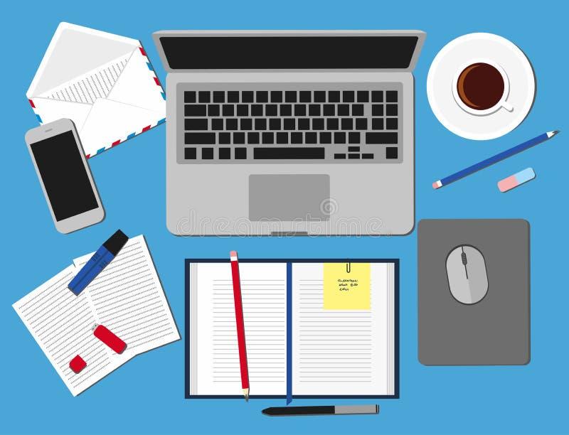 Vista superiore degli elementi del posto di lavoro sulla tavola Insieme tre dell'illustrazione piana di progettazione di vettore  royalty illustrazione gratis