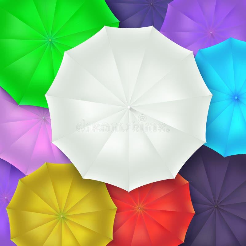 Vista superiore degli ombrelli differenti Concetto del fondo di arte Archivio dell'illustrazione ENV 10 di vettore 3d illustrazione vettoriale