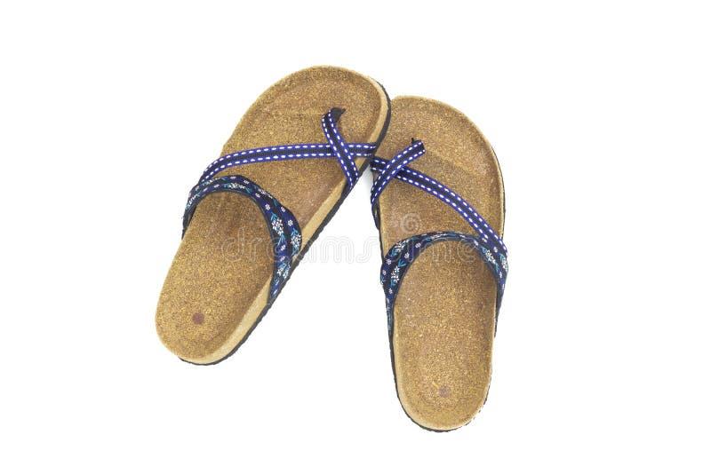 Vista superiore dei sandali femminili dei pantaloni a vita bassa isolati su fondo bianco, fine su, concetto di usura della scarpa fotografia stock libera da diritti