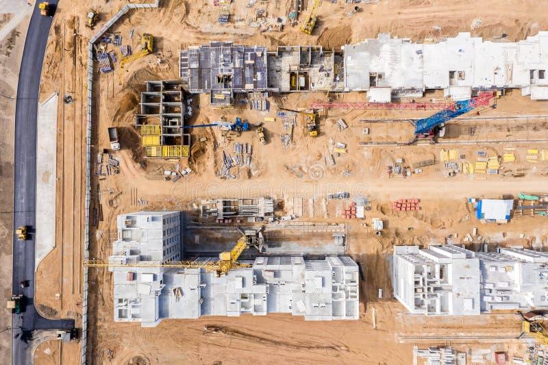 Vista superiore del cantiere Sviluppo di nuova zona residenziale Foto del fuco immagine stock libera da diritti