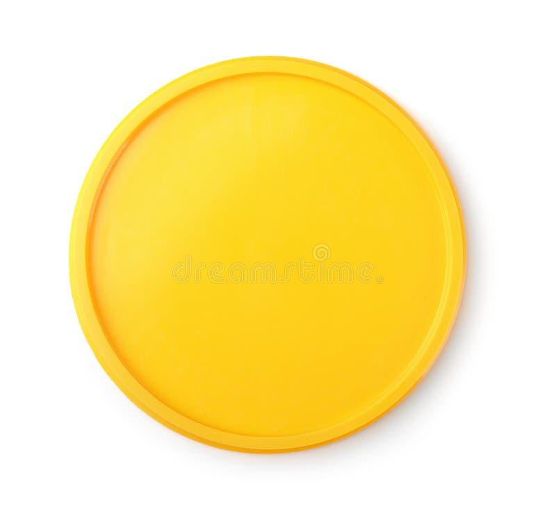 Vista superiore del coperchio di plastica giallo immagini stock