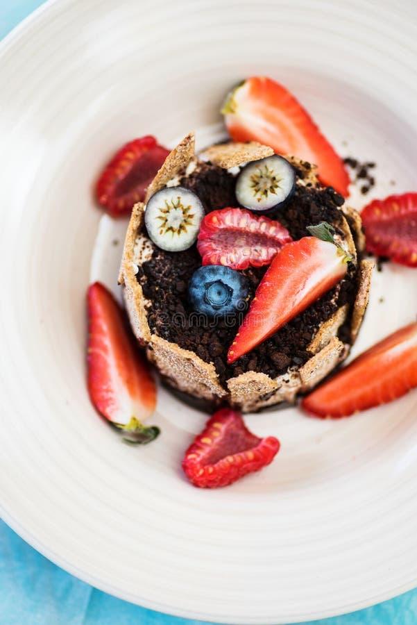 Vista superiore del dessert con la crema, il cioccolato e le bacche di tonka fotografia stock libera da diritti