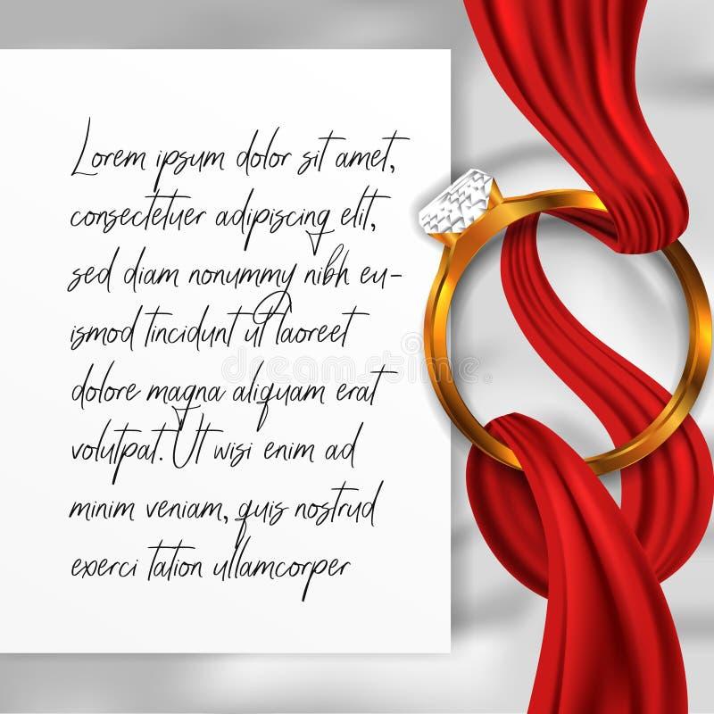 Vista superiore del diamante del gioiello di nozze di impegno dell'anello con la coperta e la carta bianche di struttura immagine stock libera da diritti