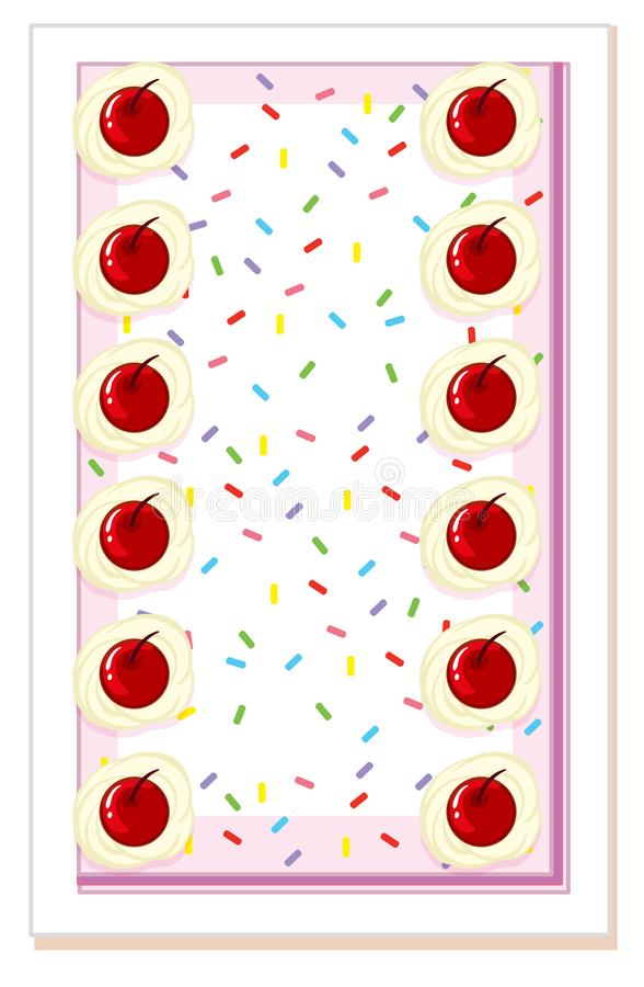 Vista superiore del dolce della ciliegia illustrazione vettoriale