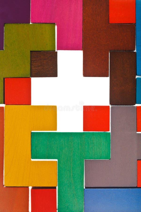 Vista superiore del foro trasversale di forma nel puzzle fotografie stock libere da diritti