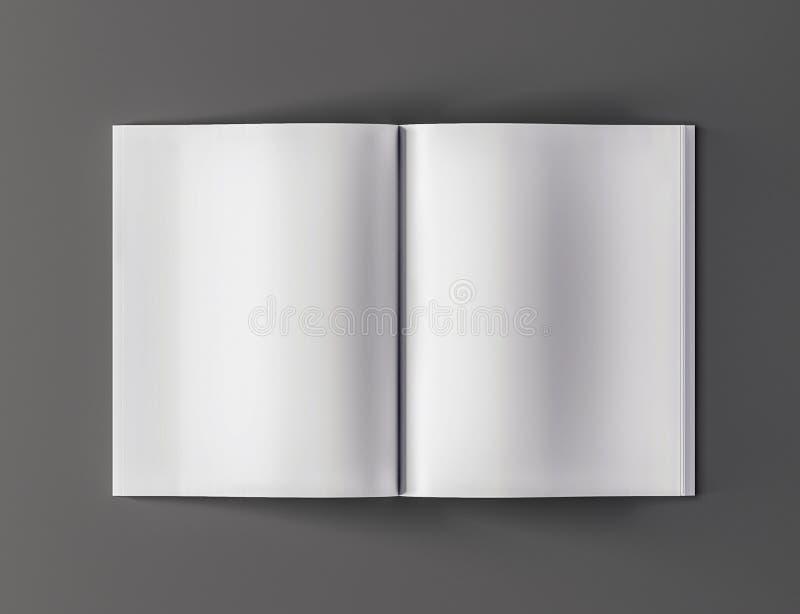 Vista superiore del modello aperto in bianco della rivista - illustrazione 3D royalty illustrazione gratis
