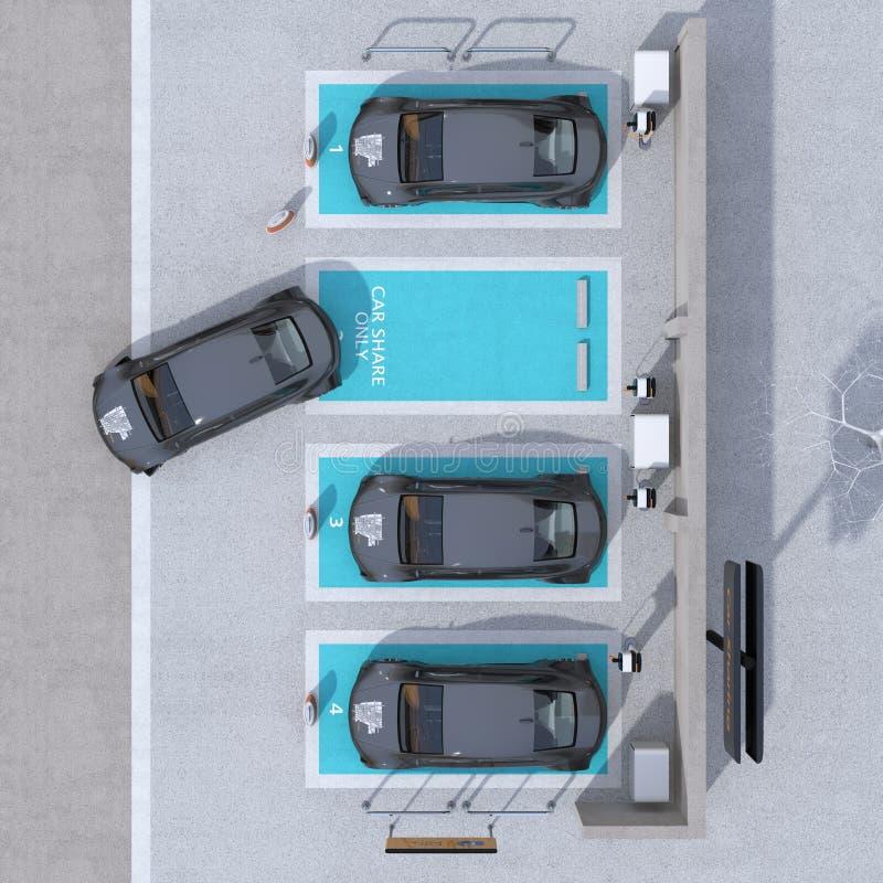 Vista superiore del parcheggio di car sharing fornito del caricare stazione e le batterie immagini stock