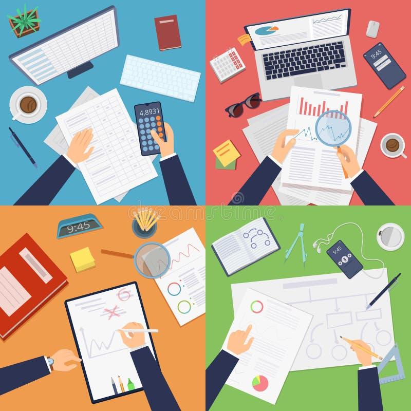 Vista superiore del posto di lavoro di affari Analisi dei dati di funzionamento dell'uomo d'affari che riferisce i documenti che  illustrazione di stock