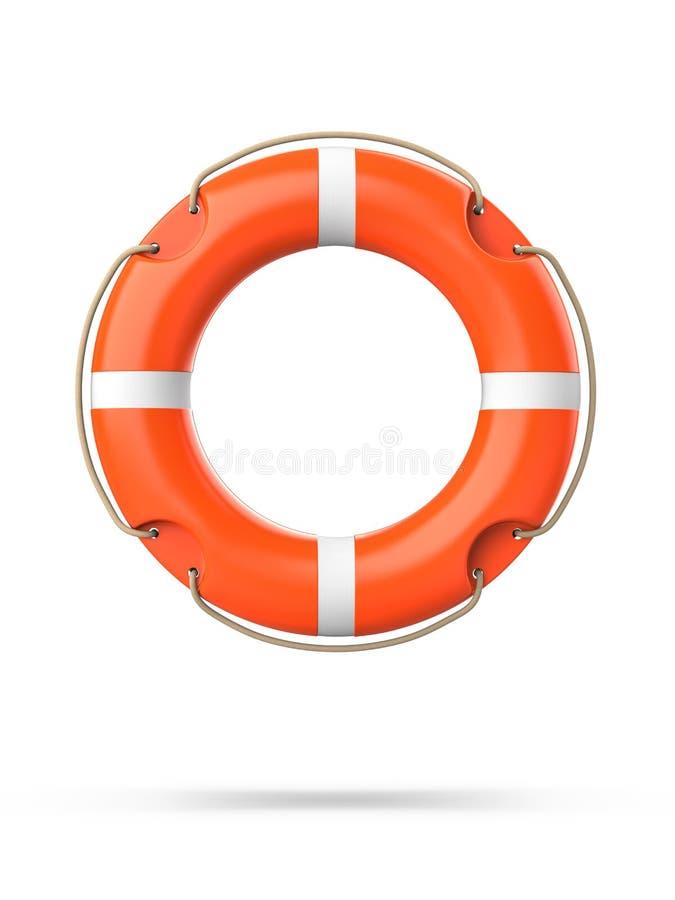 Vista superiore del salvagente, isolata su un fondo bianco con ombra rappresentazione 3d della boa di anello arancio di vita illustrazione vettoriale