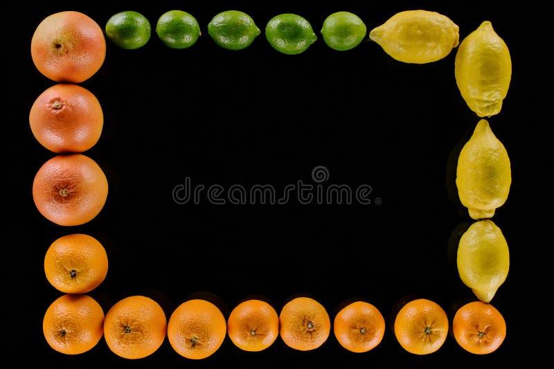 vista superiore del telaio fatta di vari agrumi maturi fotografia stock libera da diritti