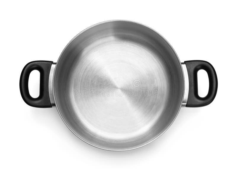 Vista superiore del vaso di cottura d'acciaio vuoto fotografia stock