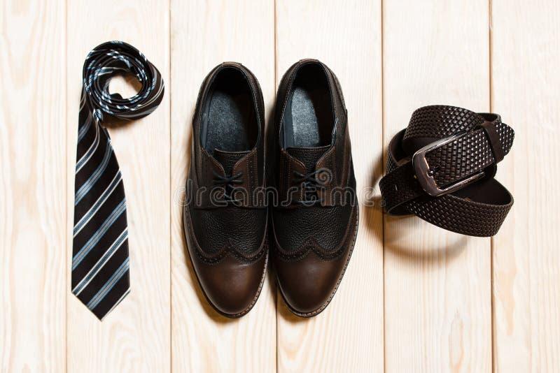 Vista superiore dell'accessorio conservatore dello stile degli uomini immagini stock libere da diritti