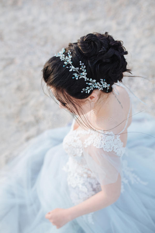 Vista superiore dell'acconciatura della sposa fotografia stock