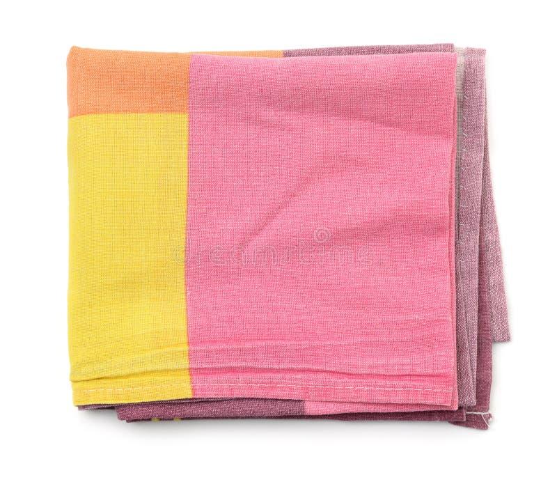 Vista superiore dell'asciugamano di cucina piegato del cotone fotografie stock libere da diritti