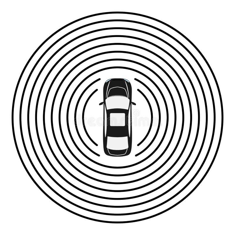 Vista superiore dell'automobile autonoma Auto che conduce veicolo illustrazione vettoriale
