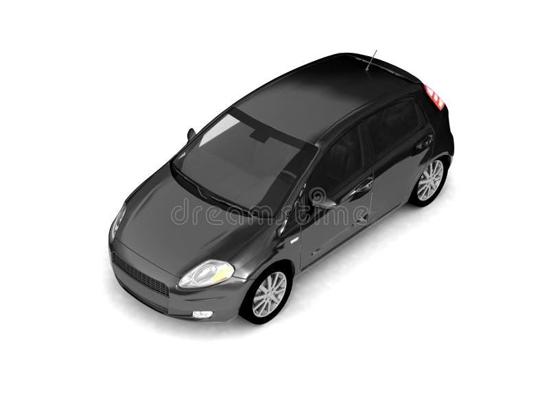 Vista superiore dell'automobile nera del Hatchback illustrazione vettoriale