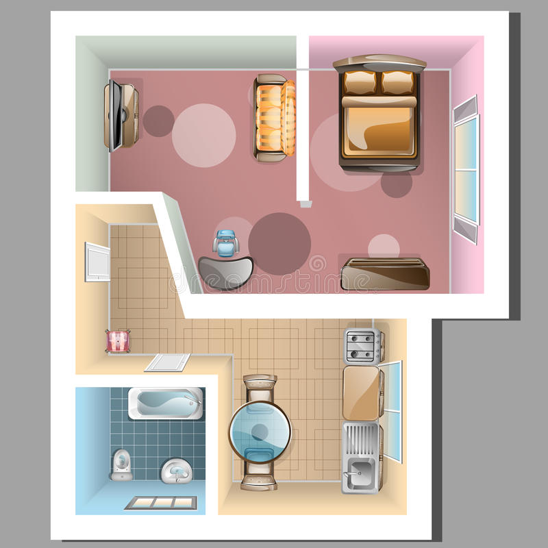 Vista superiore dell'interno dell'appartamento illustrazione vettoriale