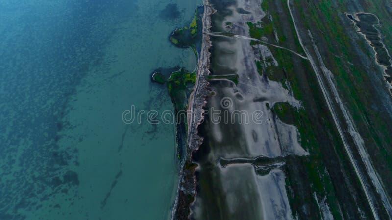 Vista superiore dell'oceano della Nuova Zelanda colpo Vista incredibile dell'oceano da sopra fotografia stock