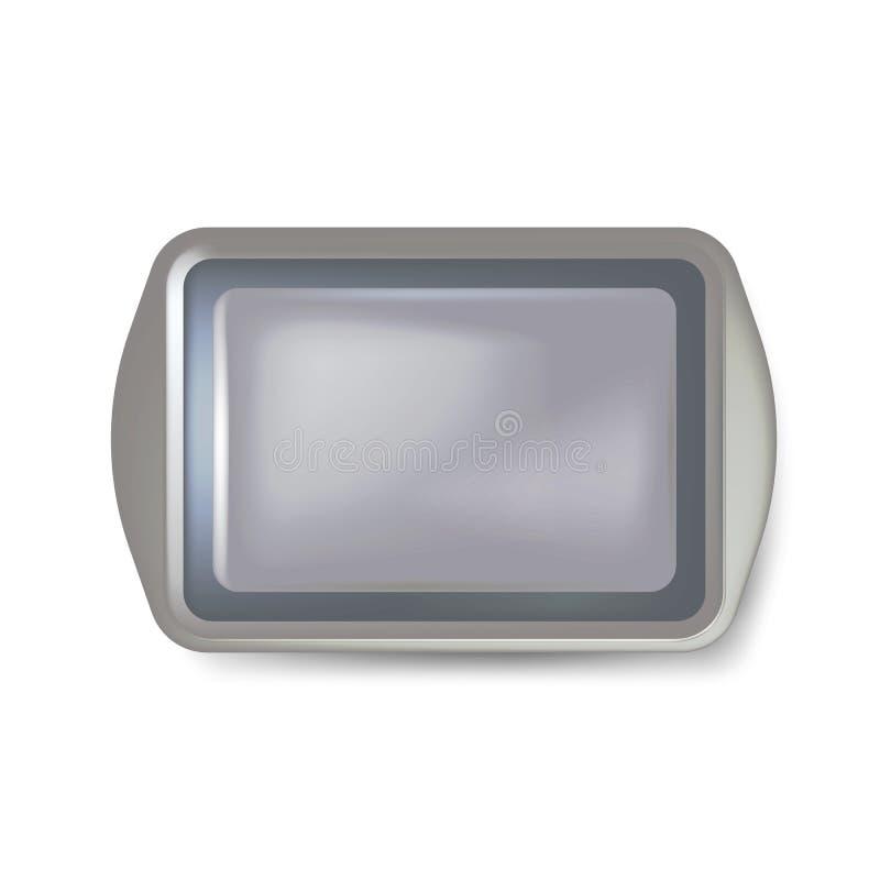 Vista superiore della banda nera quadrata Vassoio di plastica vuoto Vassoio del vassoio del metallo con le maniglie Isolato su pr illustrazione vettoriale