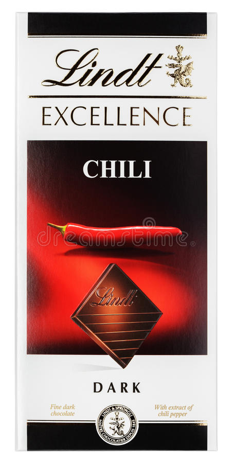 Vista superiore della barra di cioccolato fondente di Chili Swiss di ECCELLENZA di Lindt isolata su bianco fotografia stock