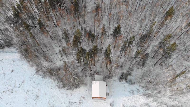 Vista superiore della casa alla foresta nell'inverno azione La casa di campagna sulle periferie della foresta densa è individuata immagine stock