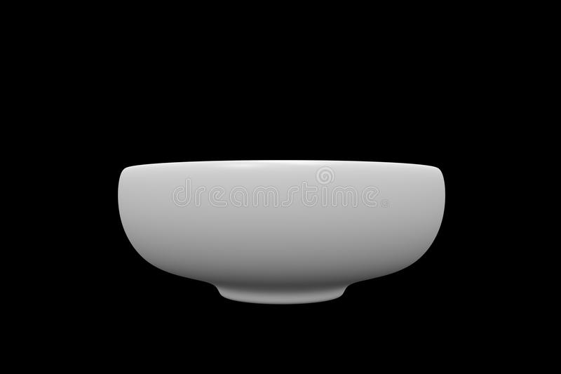 Vista superiore della ciotola bianca della sfera su fondo nero immagine stock