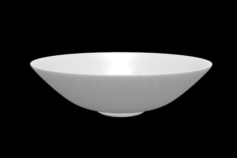 Vista superiore della ciotola bianca della sfera su fondo nero fotografia stock