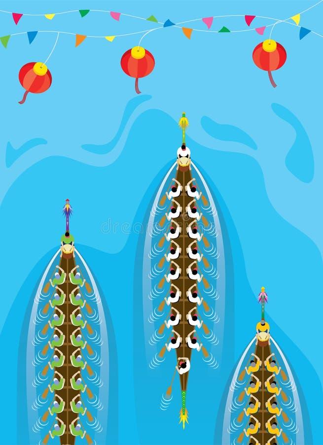 Vista superiore della concorrenza di Dragon Boat di cinese royalty illustrazione gratis