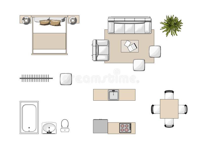 Vista superiore della mobilia illustrazione di stock