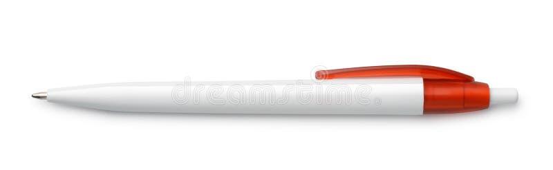 Vista superiore della penna bianca in bianco fotografie stock