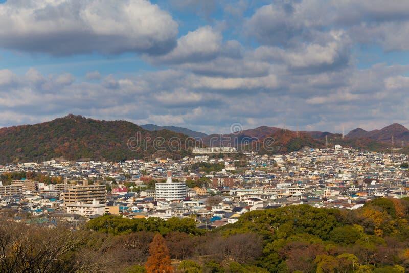 Vista superiore della residenza di Himeji del centro dal castello di Himeji immagine stock libera da diritti