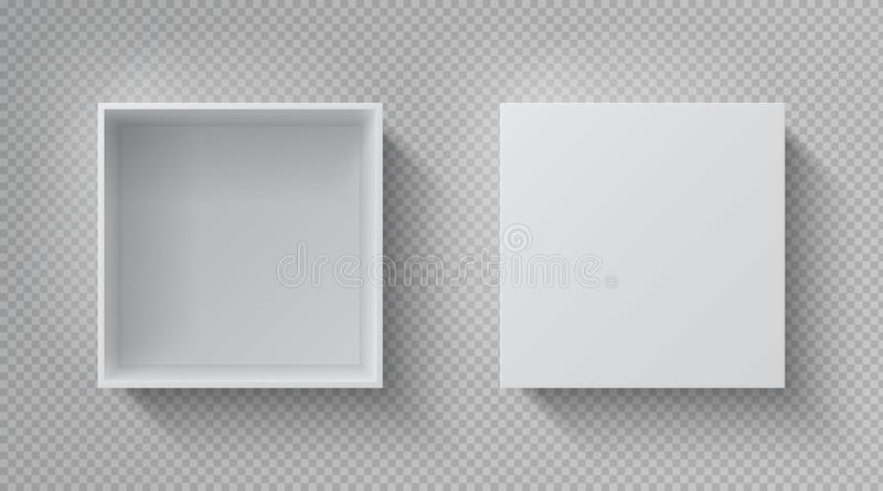 Vista SUPERIORE della scatola realistica Il modello bianco aperto del pacchetto, cartone ha chiuso il pacchetto della carta di fo illustrazione vettoriale