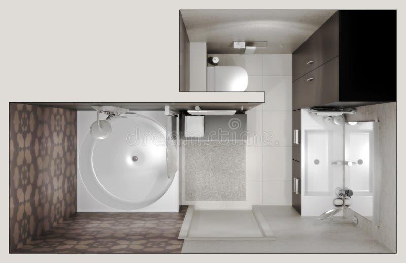 Vista superiore della stanza da bagno royalty illustrazione gratis