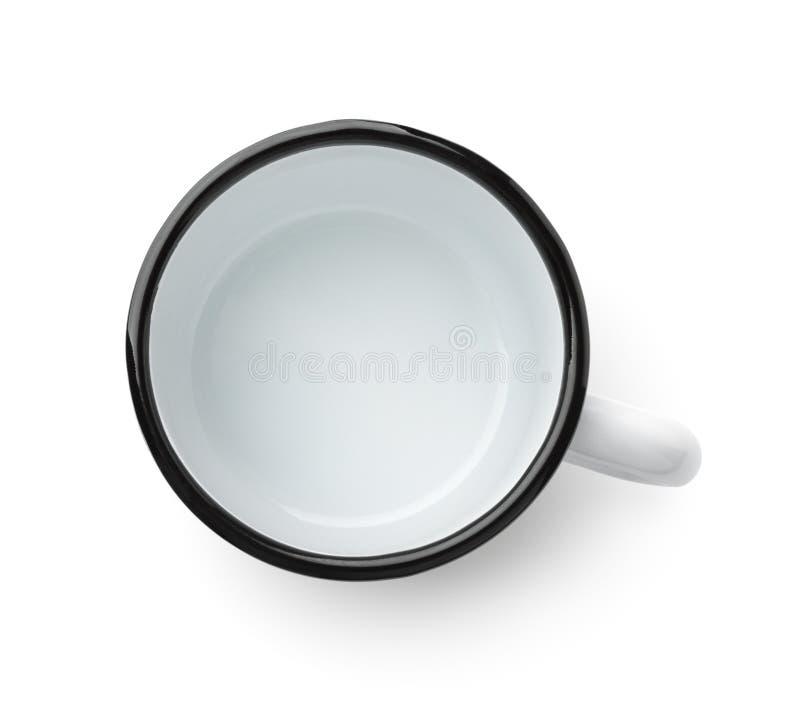 Vista superiore della tazza da caffè vuota dello smalto fotografia stock libera da diritti