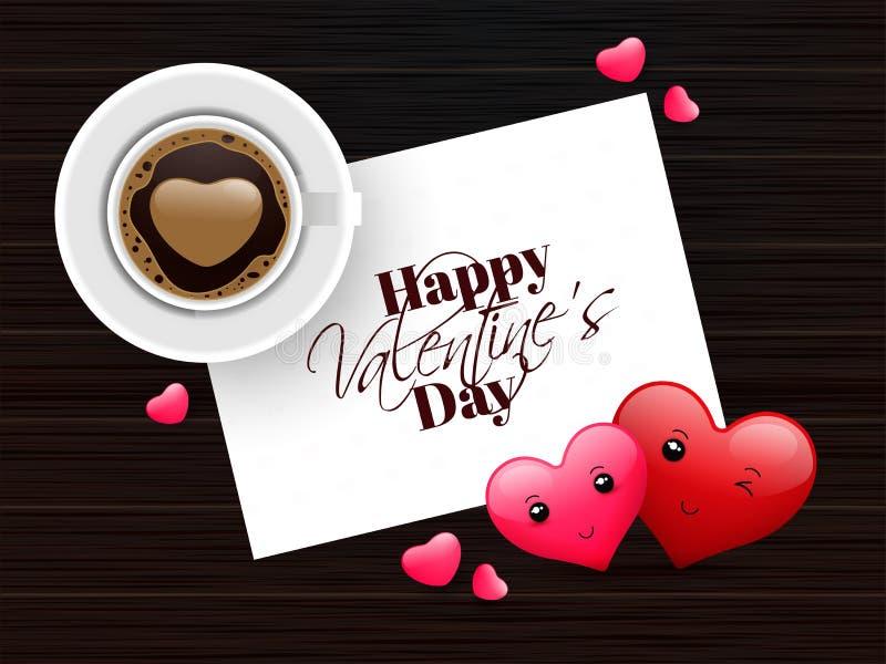 Vista superiore della tazza di caffè con progettazione della cartolina d'auguri di San Valentino royalty illustrazione gratis