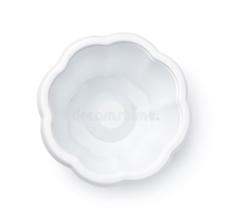 Vista superiore della tazza di plastica eliminabile vuota del gelato immagine stock libera da diritti