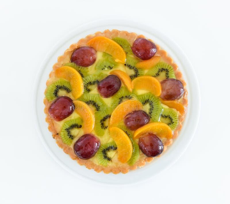 Vista superiore della torta di frutta immagini stock libere da diritti