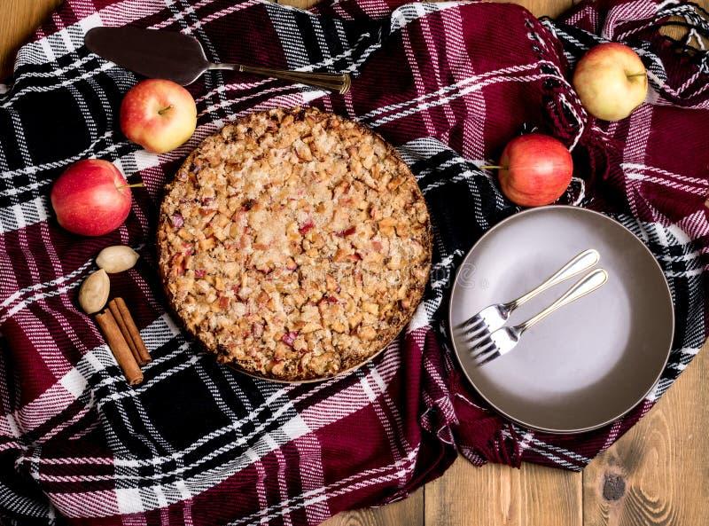 Vista superiore della torta di mele della torta di mele delle mele della cannella del fondo di legno generale di lana casalingo s fotografia stock libera da diritti