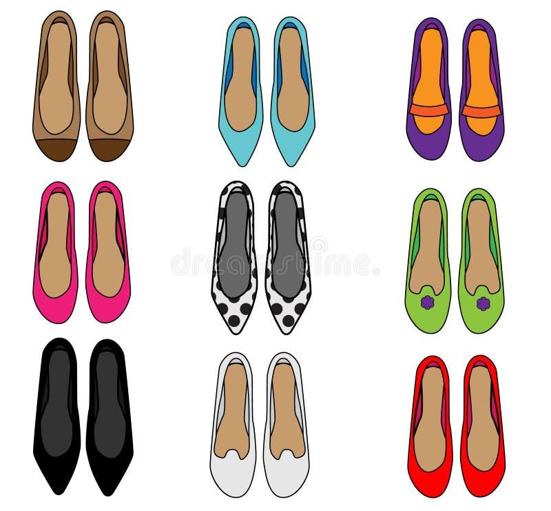 Vista superiore delle scarpe della donna Insieme femminile delle pantofole di modo Raccolta delle icone di vettore illustrazione vettoriale