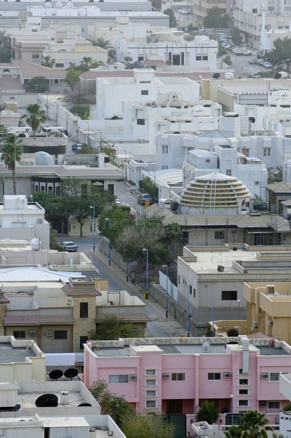 Vista superiore delle ville residenziali nella città di Riyad, Arabia Saudita fotografia stock libera da diritti