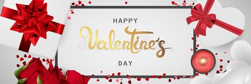Vista superiore di biglietti di S. Valentino di giorno dell'insegna di disposizione orizzontale realistica felice del piano royalty illustrazione gratis