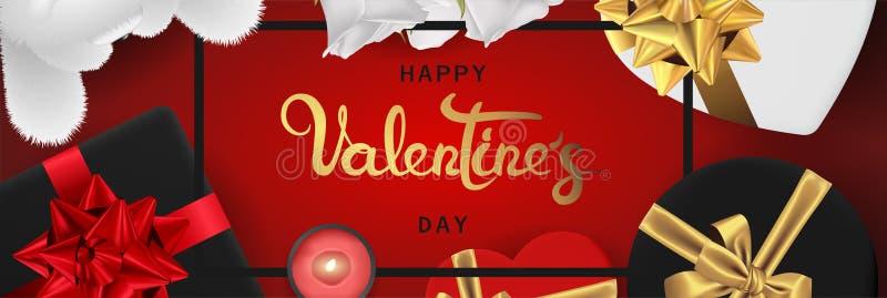 Vista superiore di biglietti di S. Valentino di giorno dell'insegna di disposizione orizzontale realistica felice del piano illustrazione di stock