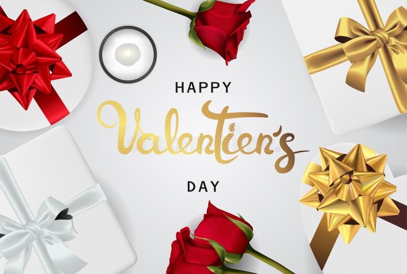 Vista superiore di biglietti di S. Valentino di giorno dell'insegna di disposizione realistica felice del piano illustrazione vettoriale