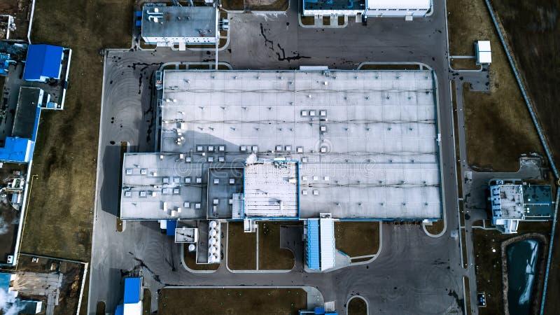 Vista superiore di impresa industriale Rilevamento aereo fotografia stock libera da diritti
